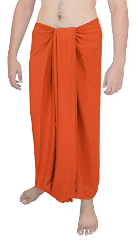 La Leela rayon costume da bagno sarong solido pareo avvolgere 78x39 uomini pollici luminoso Arancione