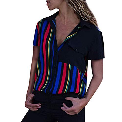 ITISME Damen Bluse T Shirts, Frauen Bluse V-Ausschnitt Striped Cuffed Kurzarm Contrast Stitching Gefälschte Tasche Tops 2019 Sommer Frühling Straßenkleidung Sexy Geschäfts Party (Braune T-shirts)