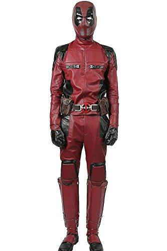 Xcoser Herren Kostüm Halloween Costume Anzug Hero Cosplay Erwachsene PU Outfit mit Gürtel Kleidung Aktualisierte Version (Jumpsuit+Gloves+Belt, S)