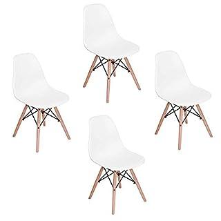WV LeisureMaster Lot de 4 Chaises Blanches de Salle à Manger Chaise de Cuisine avec Pieds en Bois