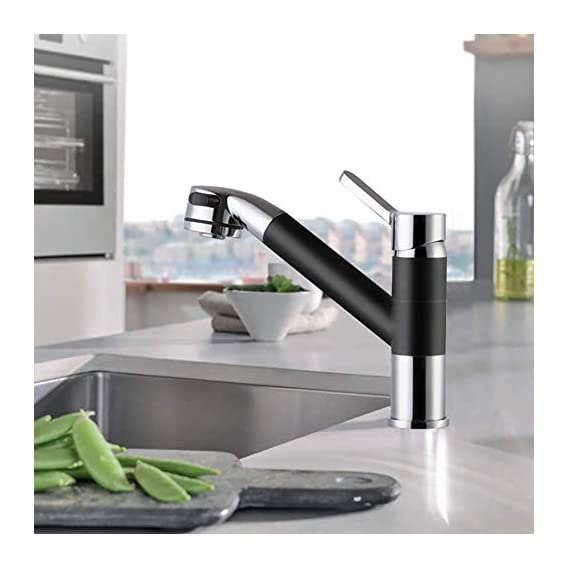 ALTON Brass Single Lever Mixer with Pull-Out and Pull-Down Sprayer and 360 Swivel Spout/Kitchen Sink Tap (Black, Large)