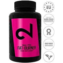 DUAL Pro Fat-Burner|Adelgazar Sin Deporte|Quemador de Grasa Para Mujeres y Hombres|Suplemento Alimenticio Para Pérdida de Peso|100 Cápsulas Sin Aditivos,100% Natural,Vegano y Sin Gluten|UE
