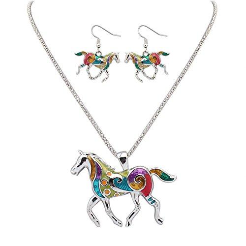 Personen Kostüm 2 Pferd - Monbedos Frauen Halskette Ohrringe Set Regenbogen Pferd Anhänger Halskette und Ohrringe für Bankett Party Fashion silber