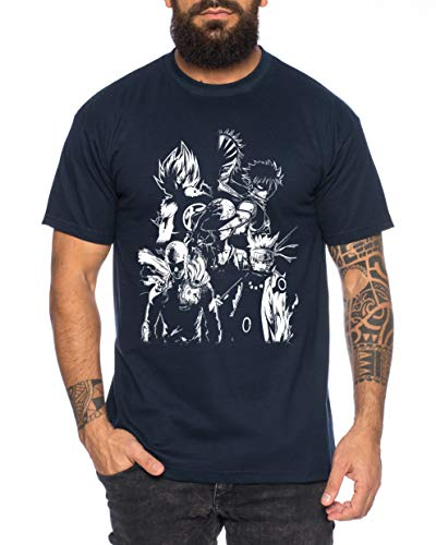 Heroes One Manga T-Shirt pour Homme Anime Piece, Farbe2:Bleu foncé, Größe2:X-Large