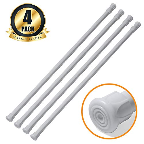 """Price comparison product image Tension Rods,  Joseche 4 Pack Cupboard Bars Adjustable Spring Tension Rods, Wardrobe Rods, Curtain Rods, Refrigerator Bar Extendable Rod for DIY Projects,  23.4"""" to 44"""" White"""