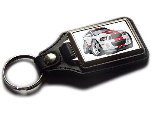 ford-mustang-gt500-sports-car-premium-koolart-leather-and-chrome-keyring-choose-a-colour-white-red