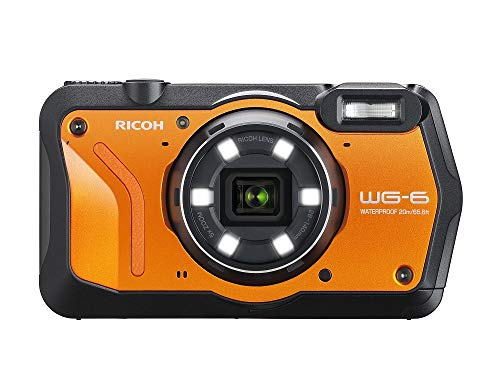 RICOH WG-6 Orange Compact étanche de 20 Mp, images haute résolution, écran LCD 3 pouces, résistant aux chocs de 2, 10 m, mode sous-marin éclairage annulaire avec 6 ledspour macro photographie