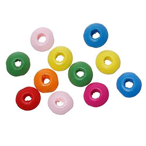 SiAura Material 1000Unidades Cuentas de Madera 4x 8mm con 2,5mm Agujero, Ábaco, Distintos Colores para Manualidades