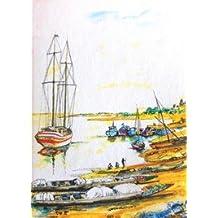 """Cuaderno de viaje con Maki """"canoas en el Anchorage"""" diseño"""