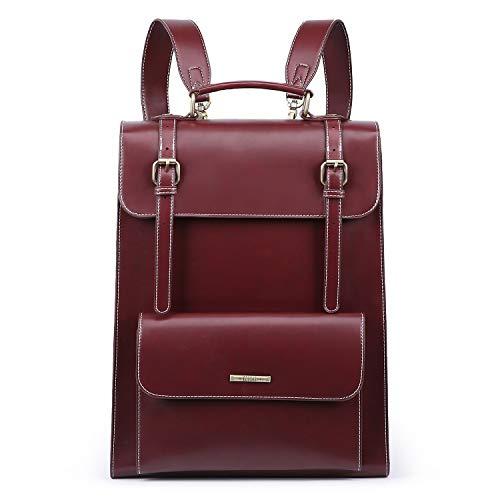 ECOSUSI Laptop Rucksack Damen für 15,6 Zoll Schulrucksack Mädchen Leder Daypack mit Laptopfach Wasserabweisend Weinrot