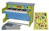 Der kleine Drache Kokosnuss Mini Piano, 25 Tasten, farbige Notenkarten, Notenaufkleber für Tastatur, Sticker zum Gestalten