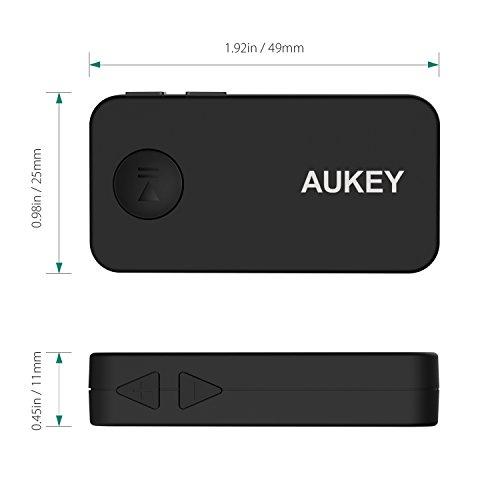 AUKEY BR-C2 – Ricevitore Bluetooth 4.1 Adattatore Audio Portatile con Microfono Incorporato per Sistema di Stereo, e per Telefono Cellulare con 3,5 mm Jack Audio, Nero