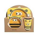 5pz/set fiocco piatto pappa in fibra di bambù forchette bambini stoviglie stoviglie Taglia libera Bee