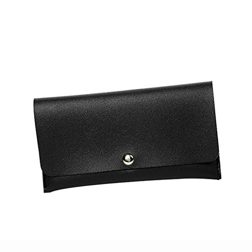 Malloom® Mode Frauen Lichee Muster Straße Brieftasche Münztüte Geldbörse Handytasche Einfarbig Lange Brieftasche Karte Paket Geldbörse Zertifikat Paket (schwarz) -