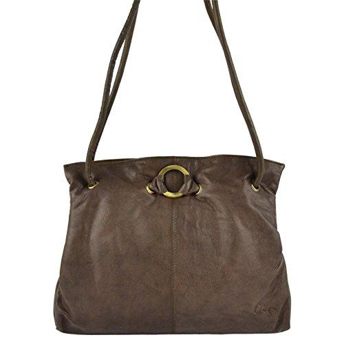 Da donna in pelle morbida, con tracolla borsa Gigi Othello collezione classico ed elegante Brown