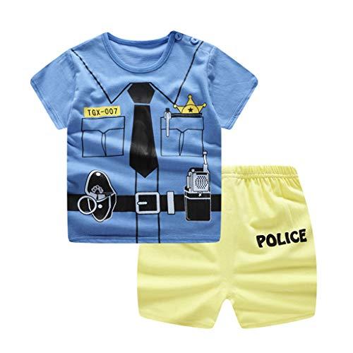 HEETEY Säuglingsbaby Cartoon Krawatte gefälschte Zweiteilige Printed Short Sleeve Shirt + Shorts Outfit Set