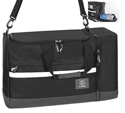 CLASSEAK LUX V1 Sporttasche mit Schuhfach | 42 Liter Sneaker Tasche 55x23x33 | Reisetasche XL, Dufflebag schwarz für Damen & Herren