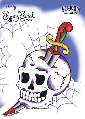 Sunny Buick - Cobweb Skull Knife decalcomania Sticker - 4'' x 5.75'' - Weather Resistant, Long Lasting for Any Surface