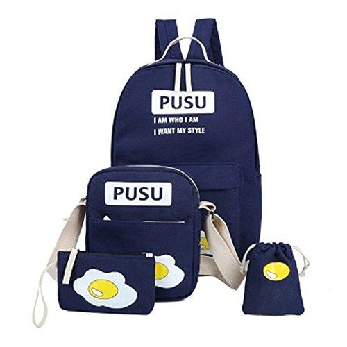 Minetom 4 Pezzi Clutch Bag Messenger Piccole Tasche Tela Borsa Zainetto Donna Spalla Zaini Scuola Superiore Zainetti Ragazze Uovo Blu One Size