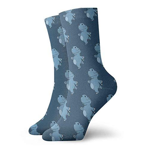 Estrange Cute Hippo Dance Cartoon Pattern Short Crew Socks Casual Athletic Sports Crew Tube Socks For Men&Women