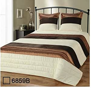 couvre lit matelass 2 personnes satin et velours beige marron et ecru 2 taies assorties. Black Bedroom Furniture Sets. Home Design Ideas