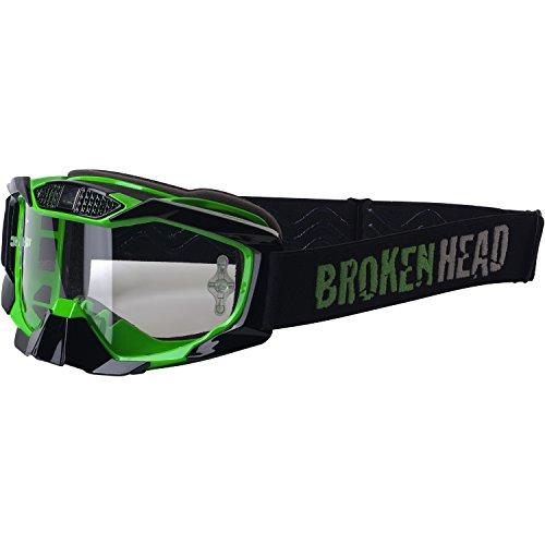 Broken Head MX MX-1 Goggle I Motorrad-Brille Für Motocross, Enduro, Downhill, Offroad I Mit UV-Schutz I Schwarz-Grün