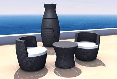 Rattan Balkonmöbel Vase Set - Stapelbar - 2 Sitze - Farbe: Schwarz