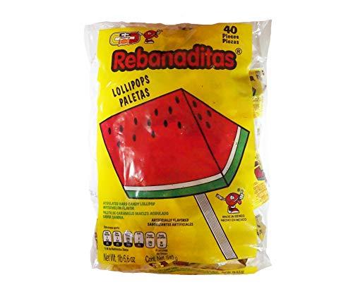 s Wassermelone (Non-Chili), | Watermelon Lollipops, Wassermelone-Flavored Rebanaditas, mexikanische Süßigkeiten, Große Packung mit Süßigkeiten, Wassermelone ()