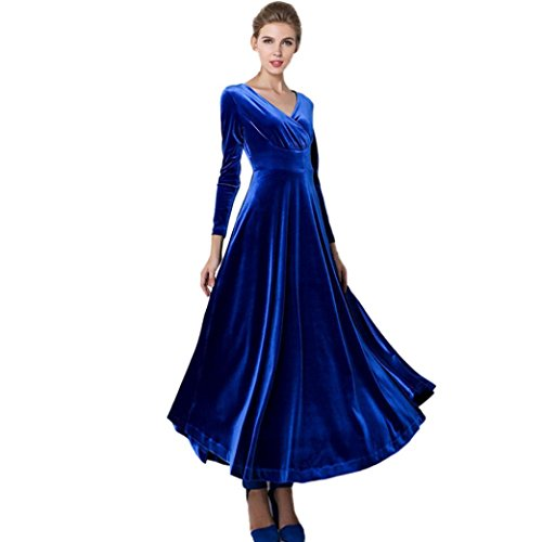 Kleid damen Kolylong® 2017 Frauen Elegant Samt Lang Kleid mit V-Ausschnitt Herbst Winter Elegant Langarm Kleid Cocktails Party kleid Abendkleid Plus Size Kleid S-XXXL (XL, Blau)
