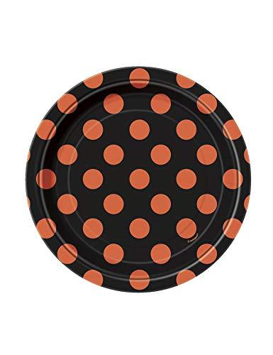 KULTFAKTOR GmbH Gepunktete Teller Halloween Pappteller Set 8 Stück schwarz-orange 17cm Einheitsgröße - Orange Teller Set