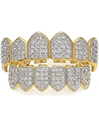 Mcsays Grillz Teeth Hip Hop Custom Fit Set Top & Bottom Full Tooth Crystal CZ Iced Out Gold/Remasuri Grillz Gap for Men/Women Gifts