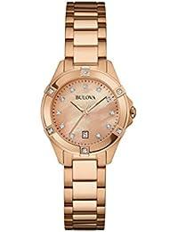 Bulova Ladies Women's Designer Diamond Watch  - Rose Gold Fashion Wrist Watch 97W101