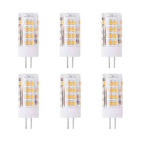 G4 5W LED Leuchtmittel, Ersatz 50 Watt, 51 LEDs, 500 Lumen, 360 Grad Abstrahlwinkel, AC/DC 12 V, Nicht Dimmbar, 6 Stück, 3000K Warmweiß -