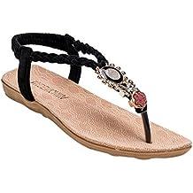 YOUJIA Mujeres Adornos de Metal Elegante T-Correa Bohemia Sandalias Verano Zapatos Planos