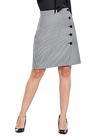 Martini Women Houndstooth Over Lap Buttoned Skirt (Black, 28)