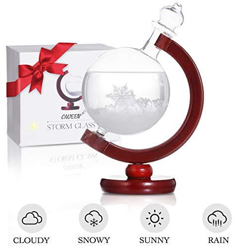 CAVEEN Sturmglas zur Wettervorhersage, Sturm Globe Wetterglas Storm Glass Desktop Dekoration Kristall kreative Wetterstation Wetter Prognose, Geschenk für Geburtstag Weihnachten (Holz Sockel)