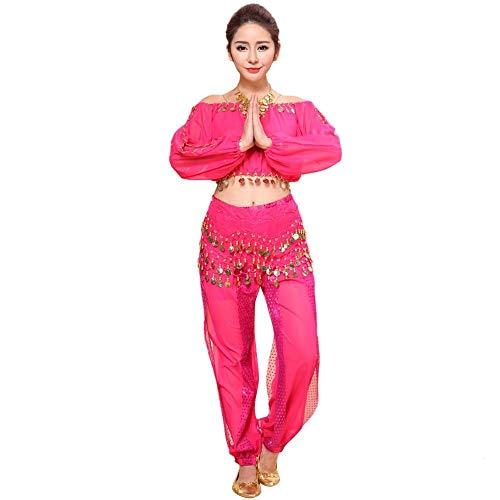 HEATLE Mode Damen Persönlichkeit Top Chiffon Neue Bauchtanz-kostüme Set Indian Dance Dress Clothes Hosen(Hot Pink,One Size)