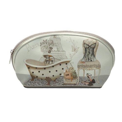Art Shopping - Trousse Année Folle fond gris motif parisien 22x8x12cm