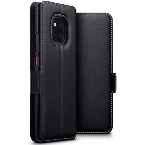 TERRAPIN, Kompatibel mit Huawei Mate 20 Pro Hülle, ECHT Leder Börsen Tasche - Ultra Slim Fit - Betrachtungsstand - Kartenschlitze - Schwarz EINWEG
