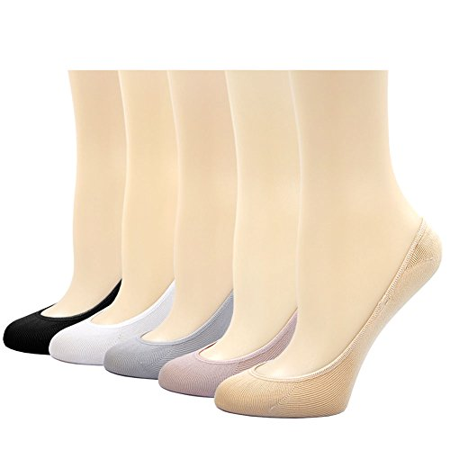 Women's No Show Liner Socks Low Cut Boat Hidden Invisible Socks Nonslip Casual Footies, 5 Pairs