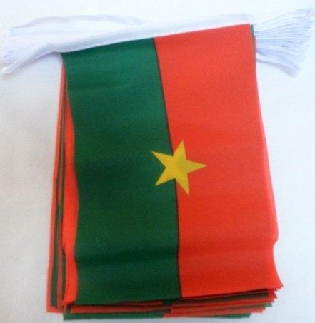 AZ FLAG Guirnalda 12 Metros 20 Banderas de Burkina Faso 45x30cm - Bandera BURKINESES 30 x 45 cm - BANDERINES