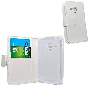 Accessory Master - Blanc livre style Housse étui coque cuir pour Samsung galaxy S3 mini i8190