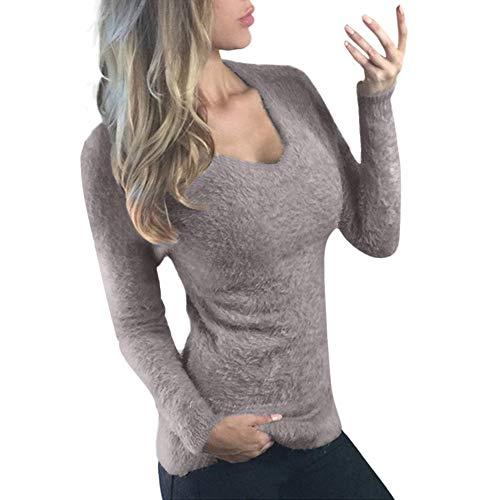 Berimaterry Damen Sweatshirt Frauen Langarm Pullover Shirt Sexy Casual Outwear Tops und Bluse Slim Fit Pullover Long Sleeve