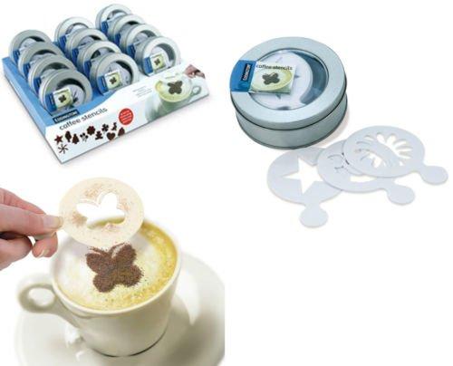 16x riutilizzabili Stencil stencil set da caffè in confezione regalo di metallo Cappuccino, Espresso, Latte - Metallo Stencil