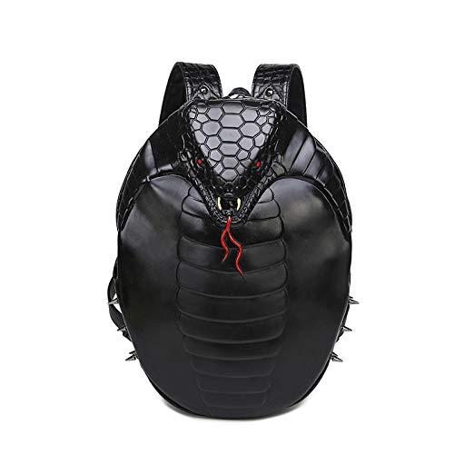 WATERMELON-Daypacks 3D Persönlichkeit Flut Hosen Niet Rucksack Männer Und Frauen Allgemeine PU Computer Tasche Halloween Dress Up (Color : Black)