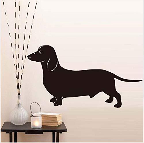 Pudgy Dackel Hund Wandaufkleber Für Kinderzimmer Schwarz Tier Hund Vinyl Abnehmbare Tapete Aufkleber Hauptdekorationen Zubehör 79X43 Cm