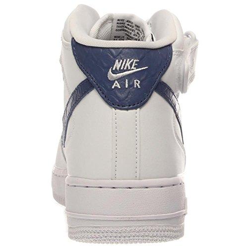 Nike Air Force 1 Mid '07, Basket-ball homme Blanc et bleu