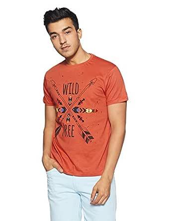 People Men's Printed Regular Fit T-Shirt (P1C110318ARR816_Red_M)