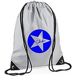 Turnbeutel mit Namen | Motiv Stern Sterne inkl. Namensdruck | Personalisieren & Bedrucken | Sportbeutel Schuhbeutel dunkel-blau für Jungen & Mädchen Kinder | Rucksack zum Zuziehen (grau)