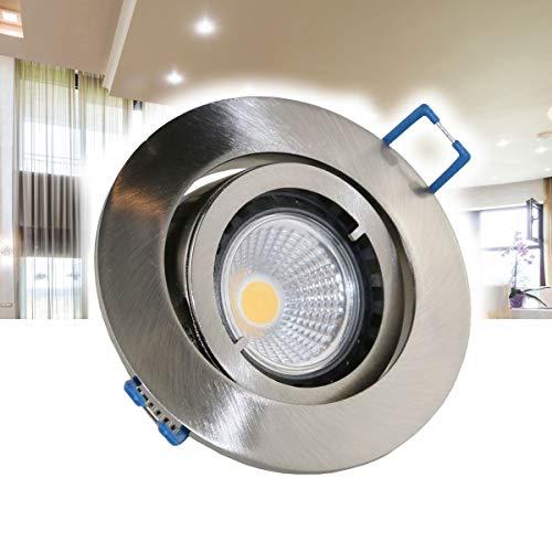 1er Set VBLED Einbaustrahler Aluminium gebürstet rund mit 3,5W COB LED Leuchtmittel 230V (vergleichbar mit 40W Halogen) warmweiß (Einbauleuchte Einbauspot Decken) schwenkbar flach